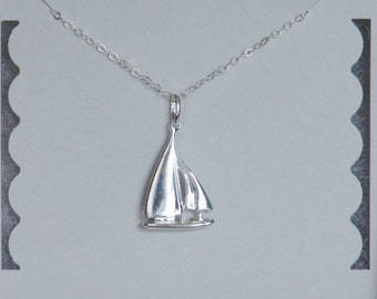 Sailboat Necklace, Nautical Necklace, Sterling Silver, Christmas Gift, Birthday Gift, Mother Gift, Children Gift