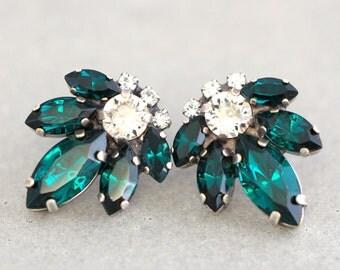Emerald Earrings, Emerald Studs, Swarovski Crystal Earrings, Emerald Cluster Earrings,Bridesmaids Swarovski Earrings,Bridal Emerald Earrings