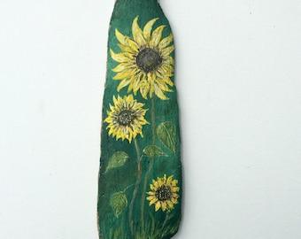 Sunflowers Painted on Driftwood Garden Art