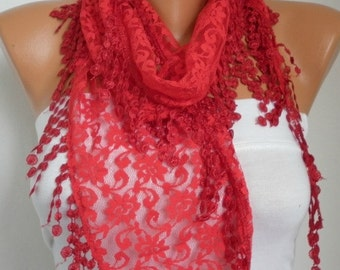Red Lace Scarf Fall Shawl Scarf Women Scarves Cowl Scarf Bridesmaid Gift  Gift Ideas For Her Women Fashion Accessories Christmas Gift
