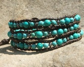 Leather Wrap Bracelet- Turquoise dyed Magnesite and Gun Metal beads