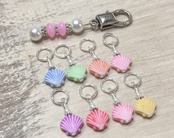 Stitch Marker Holder & 8 Snag Free Seashell Stitch Markers- Knitting Gift- accessories- Tools- Stitch Marker Storage