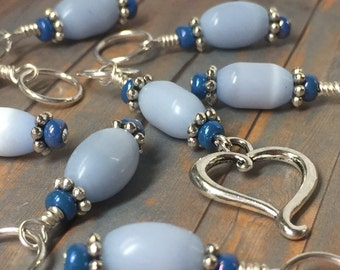 Snag Free Stitch Markers - Open Heart Beaded Stitch Marker Set - Gift for Knitters - Knitting Tools