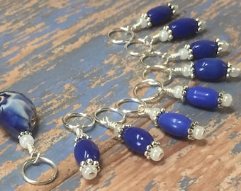 Knitting Stitch Markers - Blue Crystal Snag Free Beaded Stitch Marker Set - Gift for Knitters - Knitting Supplies