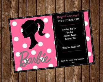 BARBIE Invitation Card, free customization, printable Hi-Res Design