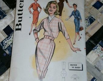 "1960s Vintage Butterick Pattern 9462 Misses Sheath Dress Size 14, Bust 34"""