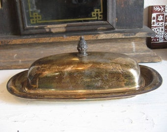 Silver Plate Butter Dish Pineapple Finial Not just for Butter other uses Great to hide phone charger!