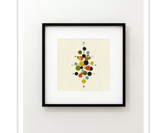 RADIATE Square Version - Giclee Print - Mid Century Modern Danish Modern Minimalist Cubist Modernist Abstract Eames