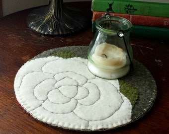 Cream Rose Wool Felt Candle Mat