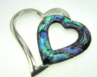 Floating Double Heart Paua Shell Jewelry Pendant in Tarnish Resistant Silver Plated Rhodium in Turquoise, Teal, Aqua, Green colors