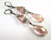 Custom for Fran - Pale Antique Pink Swarovski Vintage Rose Cubes and Faceted Crystal Drops with all Rose Gold Metal on leverback wires