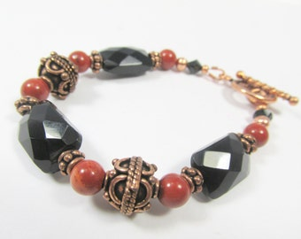 Red Jasper, Black Faceted Onyx and Bali Copper Toggle Clasp Small Bracelet