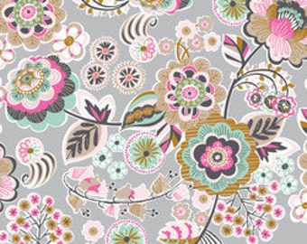 Grey Floral Fabric Blend Fabrics Josephine Kimberling Natural Wonder Deco Park in Grey Fabric 13 Inches