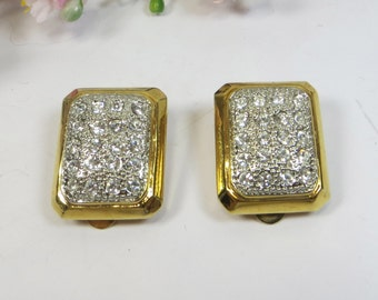 1980's Pave Set Crystal Goldtone Clip On Earrings, Sparkling Gold Silver Rhinestone Clip On Earrings, Vintage Rhinestone Clip Earrings