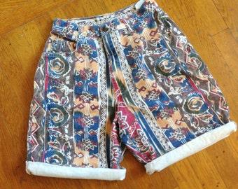BARGAIN BIN! Tribe of My Own Shorts // 90s Tribal High Waisted Shorts Medium Large