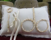 Tiny Ivory Ring Pillow Twine Rope