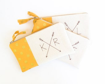 Gold Bohemain Clutches, Set of 3 Bridesmaid Monogram Bags with Crossed Arrows, Bohemian Wedding Bags MADE TO ORDER