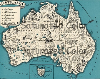 Australia Map ORIGINAL 1932 Vintage Picture Map Geography - Pictorial Fun Charming Antique Paul Spener Johst Whimsical Sydney Melbourne