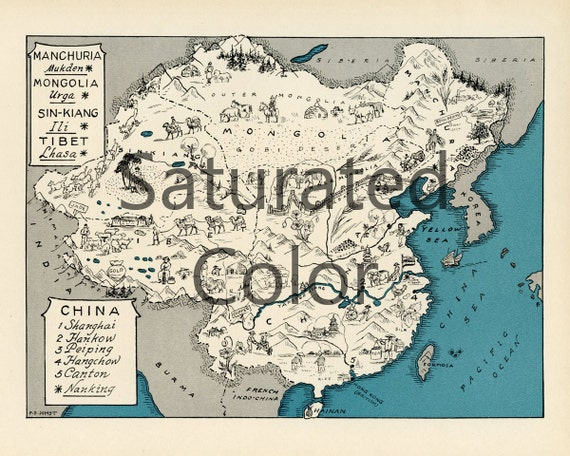 CHINA Tibet MANCHURIA Map Digital Download Vintage Picture Map