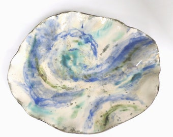 Abstract Contemporary Ceramic Centerpiece Tray Blue White Teal Clay Art Vessel Decorative Pottery Dish Hand Built Statement Piece
