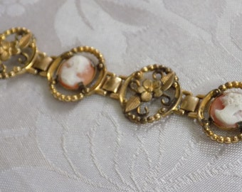 Vintage bracelet, shell cameos and golden flowers antique bracelet, link bracelet, antique jewelry