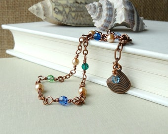 Multi Color Anklet, Blue Green Crystals and Copper Seashell Charm, Feminine Ankle Bracelet, Copper Jewelry, Handmade Anklet, Beachy Style