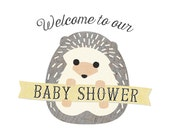 Woodland Welcome Sign, Baby Shower Party Décor // BABY HEDGEHOG