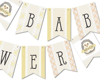 Hedgehog Banner Flags, Bunting Party Décor for Your Woodland Baby Shower // BABY HEDGEHOG