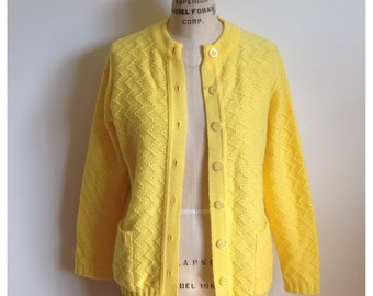 Vintage 1960s canary yellow cardigan