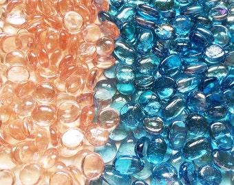Iridescent Peach & Blue Flat Glass Gems ~ 3 1/4 lb Lot of 326