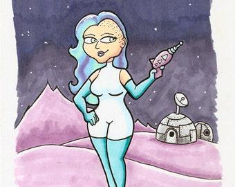 Aqua Girl Space Pinup