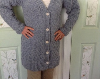 Blue Gray Wool Cabled Sweatercoat