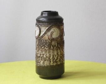 Vintage East German Pottery Vase by Strehla Fat Lava Brown