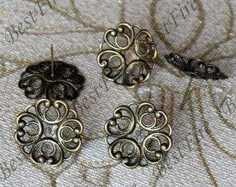 12pcs Antique Brass Earring Posts With Round Filigree 20mm Pad,Earring Stud,cabochon earring setting,Jewelry Making Findings