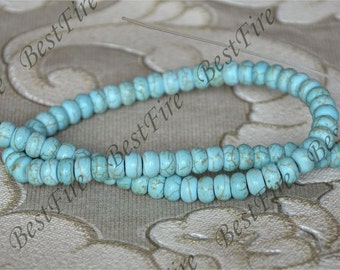 15inch Single 5x8mm turquoise abacus nugget gemstone beads,Turquoise abacus jewelry, Gemstone Bead loose strands