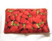 Strawberries Fabric Zipper Pouch / Pencil Case / Make Up Bag / Gadget Sack