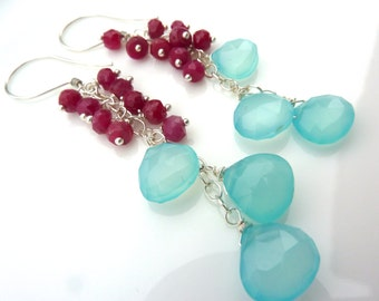 Bright Colorful Beadwork Cluster Earrings. Ruby and Chalcedony Drop. Raspberry and Aqua Dangle. Elegant Chandelier.