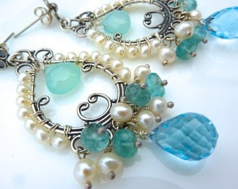 Blue and White Gemstone Hand Beaded Chandelier Post Earrings on Oxidized Silver. Winter. Bridal Cluster.