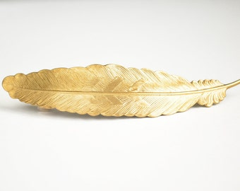 Gold Feather Barrette Large Raw Brass Gold Toned Bridal Hair Piece