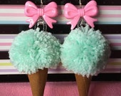 Mint Ice Cream Pom Pom Earrings