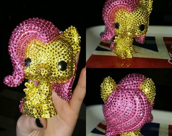 Customised My little pony fluttershy pop funko rhinestoned ooak mlp bronies brony