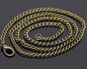 1pc 20 inch Bronze chain antique necklace chain Curb Chain locket chain 3.5x2.6mm pendant jewelry findings 832x