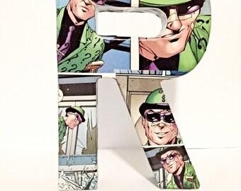 The Riddler Letter R, Batman Villain, Small Comic Book Letter 6 Inch, Pop Art, Ready To Ship