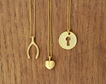 key to my heart necklace, delicate, matte gold plated, boho chic, artisantree