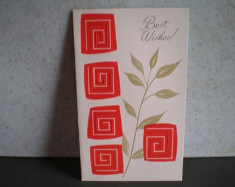 Vintage Mid Century Unused Greeting Card - Best Wishes!