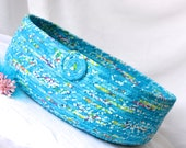 Turquoise Cat Bed, Handmade Coiled Cotton Basket, Caribbean Blue Pet Bed, Tropical Blue Fabric Basket,  Aqua Blue Decor, Storage Basket