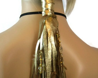 Leather Fringe Hair Wraps, Leather Hair Ties Ponytail Holder Beaded wraps, BOHO Hair Jewelry Gold