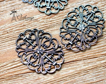 Antiqued Silver  plated RAW brass Filigree  Jewelry Connectors Setting Cab Base Connector Finding  (FILIG-AS-17)