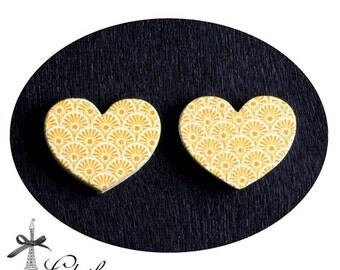 50% off-  Heart Handmade Photo Wood Cut Cabochon  (WAH-76)-(Back White)