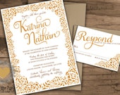 Gold Leaf Chic Couture Lace and Calligraphy Invitation Set  by Luckyladypaper - CUSTOM CARD ORDER